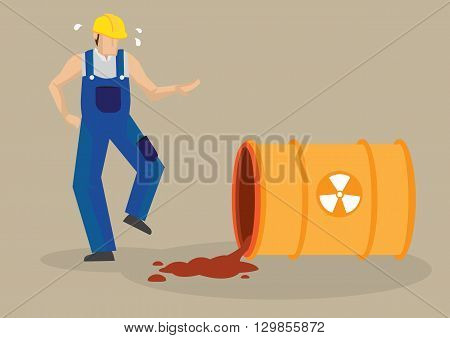 Worker panicking beside a spilt barrel with radioactive symbol sign. Vector cartoon illustration on radioactive spill industrial workplace accident concept isolated on plain background.