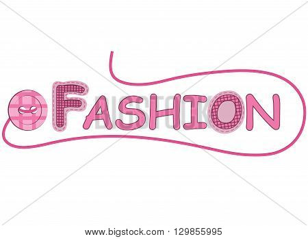 pink  sewing buttons and fashion label  on a white background