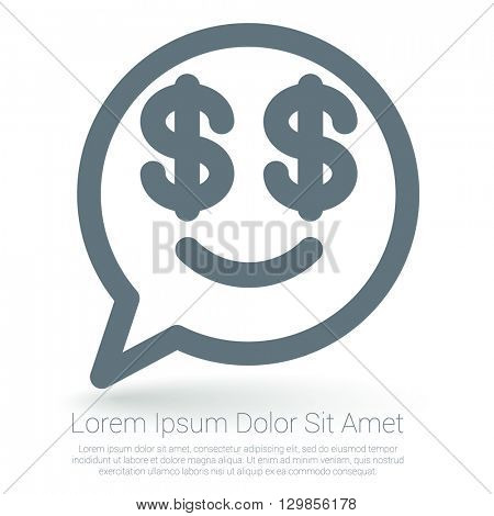 Dollar emoticon vector mock up.