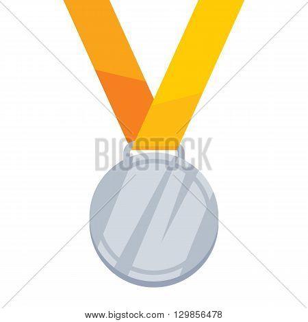 Silver medal on yellow ribbon flat style vector illustration. Golden medal. Medal Icon. Medal symbol. Sport medal. Award medal.