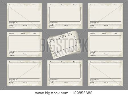 Storyboard template in retro style. Storiboards icons on grey background. Vector illustration