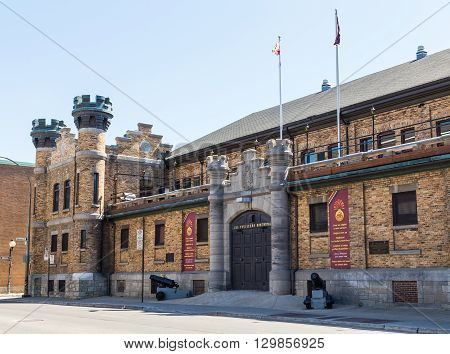 MONTREAL CANADA - 17TH MAY 2015: The outside of Les Fusiliers Mont-Royal building in Montreal during the day.