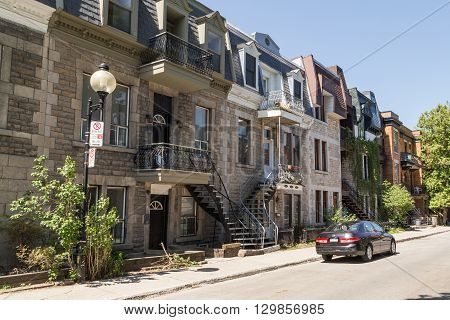 MONTREAL CANADA - 17TH MAY 2015: The outside of buildings in central Montral during the day