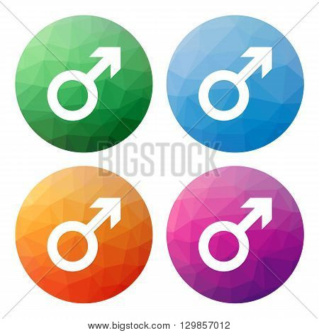 Set  Of 4 Isolated Modern Low Polygonal Buttons - Icons - For Male, Man