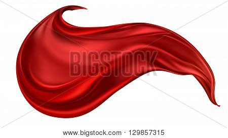 flying red silk fabric on light background