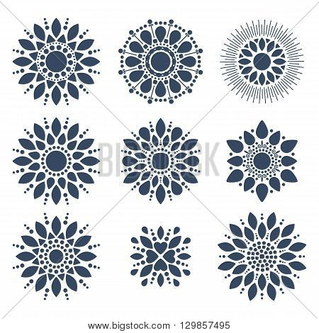 Abstract floral symbols templates set vector illustration. Floral icon. Floral set. Vignettes floral. Logo design. Vector flower.