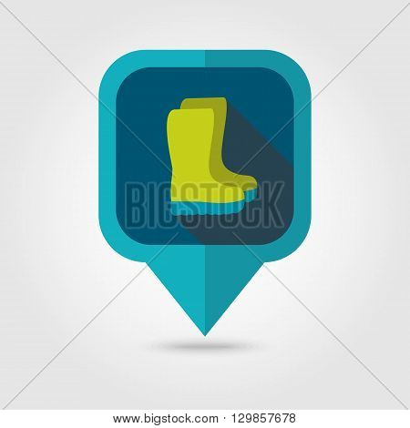 Rubber boots gumboots wellies flat vector pin map icon. Map pointer. Map markers. Garden eps 10