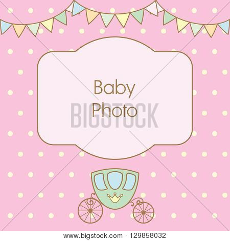 Pastel pink colour retro polka dot background with frame for text or photo, multicolored buntings garlands and carriage. Vector illustration. Can use as baby arrival card or photo frame