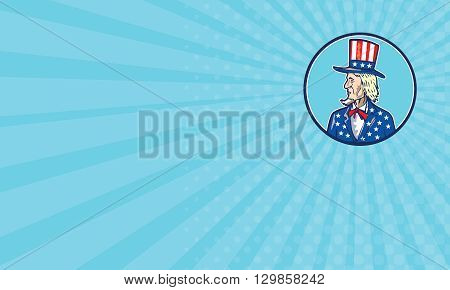 Business card showing illustration of Uncle Sam wearing hat with stars and stripes American flag viewed from side set inside circle on isolated background done in cartoon style.