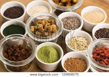 Bowls Of Various Superfoods