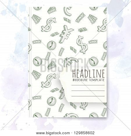 Notebook template with hand drawn money doodles. Vector editable notebook cover.