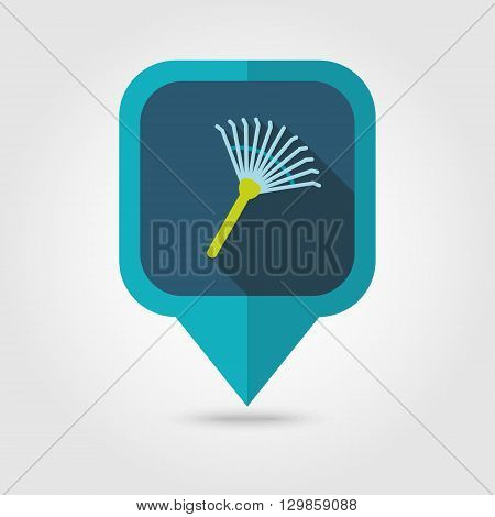 Garden rake flat vector pin map icon. Map pointer. Map markers. Garden eps 10