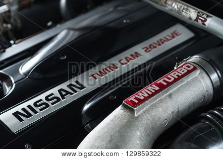 BANGKOK, THAILAND - APRIL 10, 2016 : RB26DETT Twin turbo engine in Nissan skyline R33 GTR 1996 model. Ninth generation of Nissan skyline.