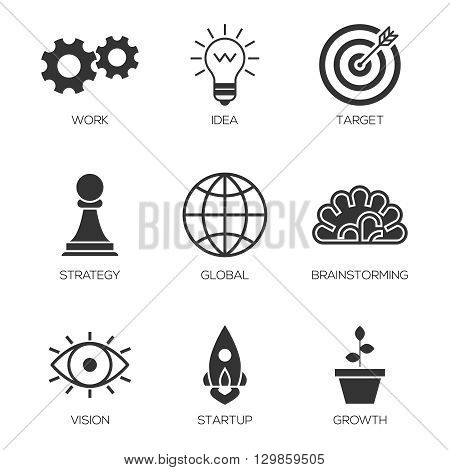Business process icons. Business start up basic icons