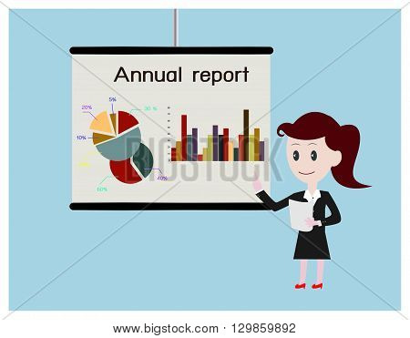 Women business present annual report.Can used for advertising idea.