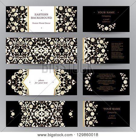 Vector Set Of Golden Floral Cards.