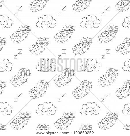 Sleep owlet vector seamless pattern. vector illustration owl.