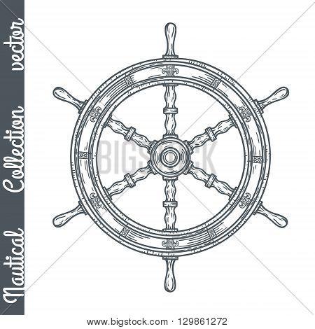 Hand drawn ship wheel. Vector marine objects.