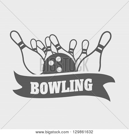 Bowling Logo, Symbol Or Badge Template With Ball Knocks Down Pins.
