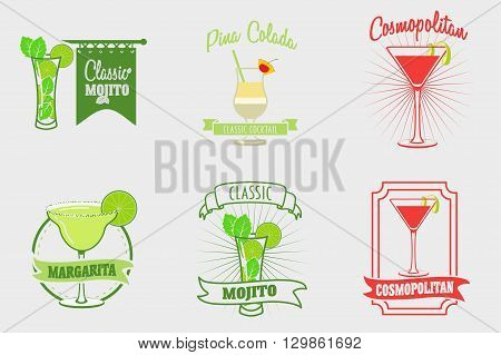 Set Of Mojito, Margarita, Pina Colada And Cosmopolitan Cocktails Logos, Labels And Bages