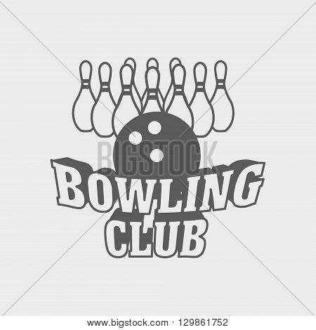 Bowling Club Logo, Label Or Badge Design Concept With Ball And Ten Pins