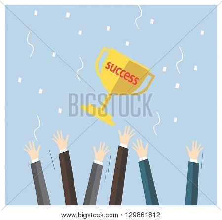 Hand business reward success teamwork business concept.