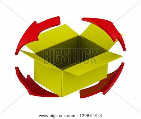 Yellow cardboard boxes and arrows. Update content. Yellow cardboard box and the red arrows located on the circumference. Isolated. 3D Illustration
