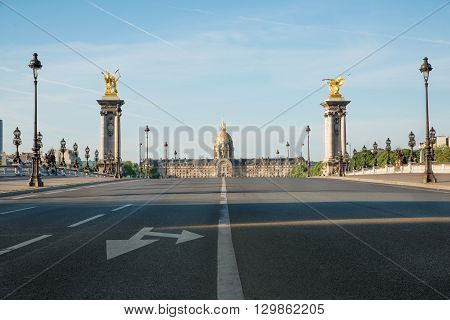 Pont Alexandre III and Les Invalides in Paris France