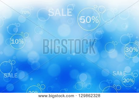 Abstract blue background illustration of percentage signs and sign sale