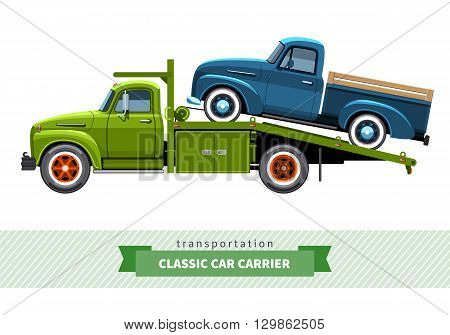Classic Medium Duty Car Hauler Truck Side View