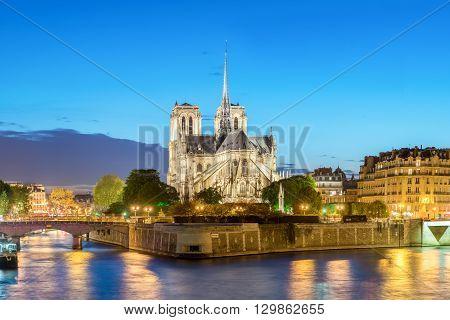 Cathedral of Notre Dame de Paris at sunset France