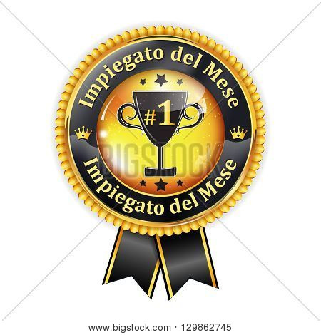 Employee of the month in Italian Language (Impiegato del Mese) - elegant golden red award ribbon