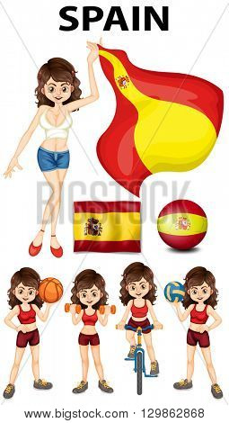 Spainish girl and many sports illustration