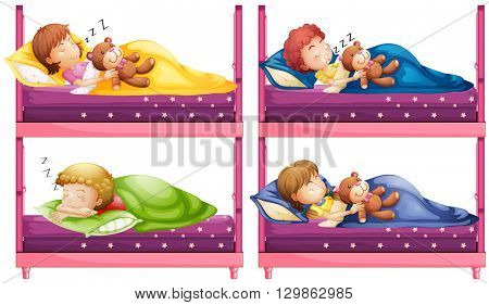 Four children sleeping in bunkbed illustration