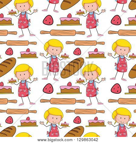 Seamless background with baker and cake illustration