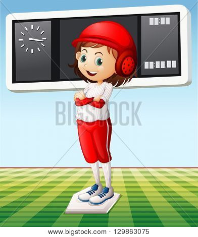 Girl in baseball outfit in the field illustration