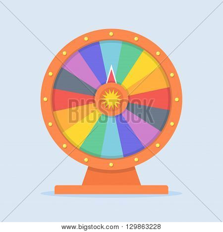 Wheel of Fortune vector illustration in flat style. Empty wheel of fortune. Concept wheel of fortune isolated on colored background. Colorful wheel of fortune icon. Children playing Wheel of Fortune.