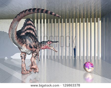 Computer generated 3D illustration with the dinosaur Spinosaurus in the zoo