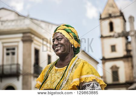 Brazilian woman of African descent wearing traditional clothes from the state of Bahia, Brazil