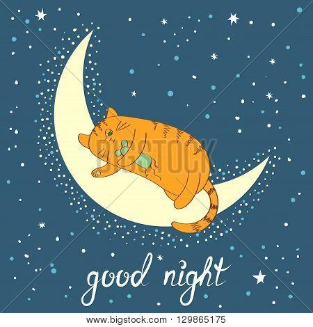 Cute cartoon cat sleeping on the moon. Good night lettering. Vector illustration.