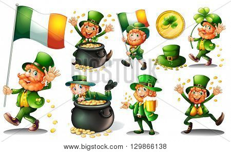 Leprechaun and gold in pot illustration