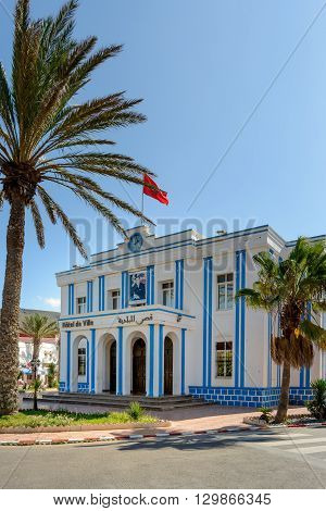 Hotel de Ville (town hall) in Plaza de Espana in the town of Sidi Ifni Atlantic coast of Morocco.