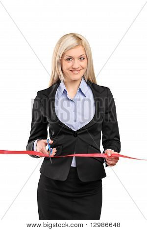 A Businesswoman Cutting A Red Ribbon, Opening Ceremony