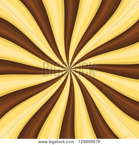 Chocolate Lollypop Candy Background with Swirling, Rotating, Twirling Stripes. Vector illustration