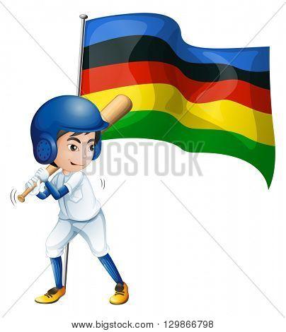 Olympic flag and baseball player illustration