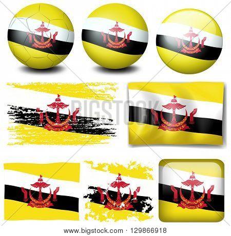 Brunei flag on different items illustration