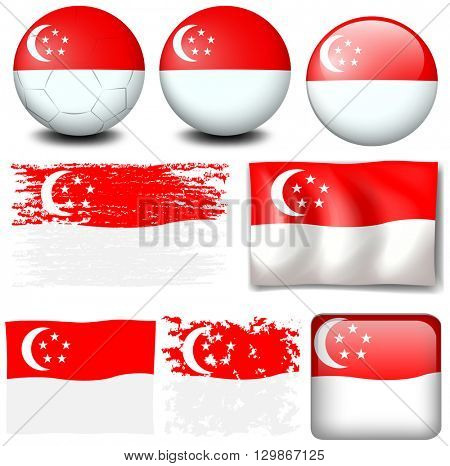 Singapore flag on different items illustration