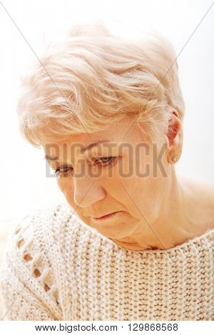 Portrait of senior depression woman