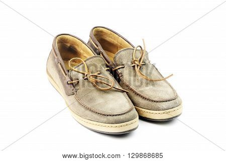 A pair of moccasins isolated on a white background