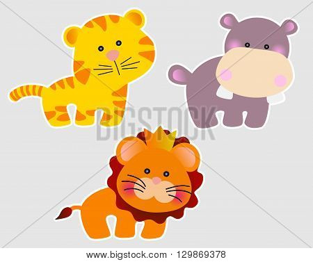 Set of three cute african animals in cartoon style - lion, tiger and hippopotamus
